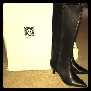 Anne Klein Black Leather Boots